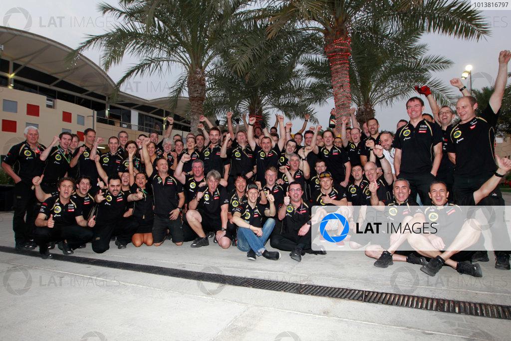Bahrain International Circuit, Sakhir, Bahrain22nd April 2012The Lotus GP team celebrate after the race.World Copyright:Andrew Ferraro/LAT Photographicref: Digital Image _Q0C0094