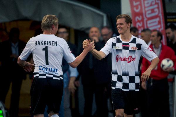 Mika Hakkinen (FIN) and Mick Schumacher (GER)