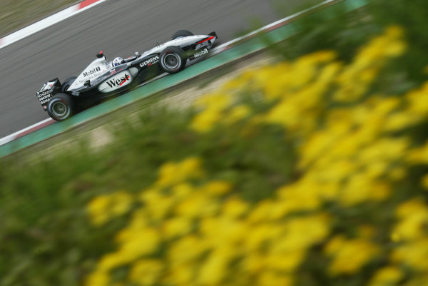 2003 European Grand Prix - Saturday Qualifying, Nurburgring, Germany.28th June 2003.David Coulthard, West McLaren Mercedes MP4/17D, action.World Copyright LAT Photographic.Digital Image Only.