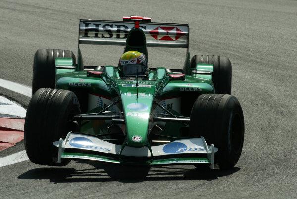 2003 European Grand Prix - Friday 1st Qualifying,Nurburgring, Germany.27thth June 2003.Mark Webber, Jaguar R4, action.World Copyright LAT Photographic.Digital Image Only.