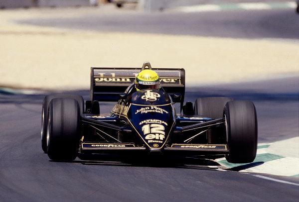 1985 Australian Grand Prix.Adelaide, Australia.1-3 November 1985.Ayrton Senna (Lotus 97T Renault).Ref-85 AUS 68.World Copyright - LAT Photographic