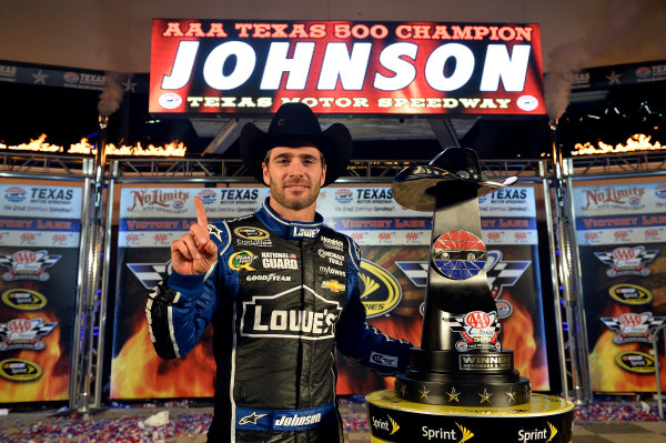 November 01-03, 2013, Fort Worth, Texas USA Jimmie Johnson in Victory Lane © 2013, Brian Czobat LAT Photo USA