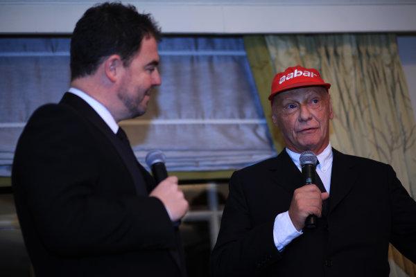 2013 Autosport Awards. Grosvenor House Hotel, Park Lane, London. Sunday 1st December 2013. Niki Lauda and James Allen. World Copyright: Sam Bloxham/LAT Photographic. ref: Digital Image IMG_6175