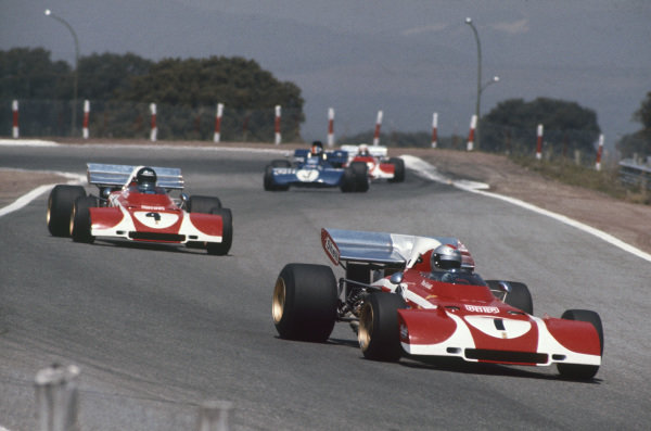 1972 Spanish Grand Prix.  Jarama, Madrid, Spain. 29th April - 1st May 1972.  Mario Andretti, Ferrari 312B2, leads Jacky Ickx, Ferrari 312B2, François Cevert, Tyrrell 002 Ford, and Clay Regazzoni, Ferrari 312B2.  Ref: 72ESP19. World Copyright: LAT Photographic