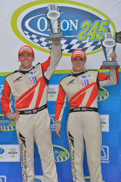 9-11 August, 2013, Elkhart Lake, Wisconsin USA #0 DeltaWing Racing Cars on podium with third place finish by Katherine Legge and Andy Meyrick ©Dan R. Boyd LAT Photo USA