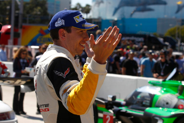 2017 IMSA WeatherTech SportsCar Championship BUBBA burger Sports Car Grand Prix at Long Beach Streets of Long Beach, CA USA Saturday 8 April 2017 4, Chevrolet, Corvette C7.R, GTLM, Tommy Milner tries to figure out what happened at the end of the race World Copyright: Phillip Abbott/LAT Images ref: Digital Image lat_abbott_lbgp_0417_8715