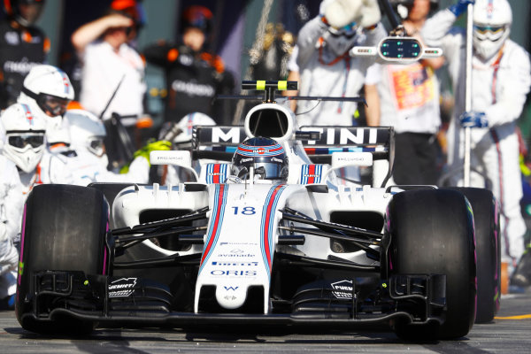 Albert Park, Melbourne, Australia. Sunday 26 March 2017. Lance Stroll, Williams FW40 Mercedes, makes a stop. World Copyright: Steven Tee/LAT Images ref: Digital Image _O3I3055