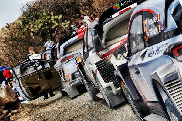The cars of Thierry Neuville (BEL) / Nicolas Gilsoul (BEL), Hyundai Motorsport i20 Coupe WRC and Jari-Matti Latvala (FIN) / Miikka Anttila (FIN), Toyota Gazoo Racing Toyota Yaris WRC at World Rally Championship, Rd3, Rally Mexico, Preparations and Shakedown, Leon, Mexico, 8 March 2017.