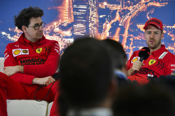 Mattia Binotto, Team Principal Ferrari, and Sebastien Vettel, Ferrari