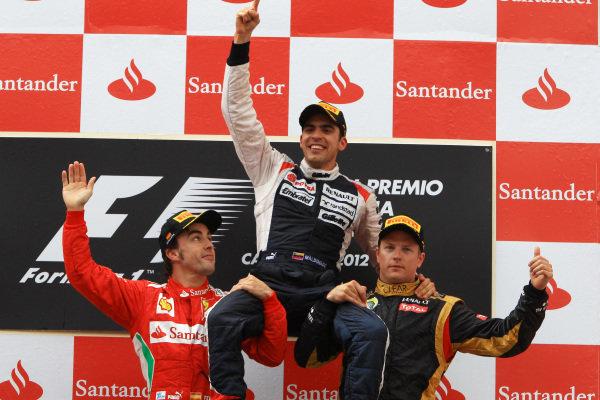 Podium (L to R): Fernando Alonso (ESP) Ferrari, race winner Pastor Maldonado (VEN) Williams and Kimi Raikkonen (FIN) Lotus F1. Formula One World Championship, Rd5, Spanish Grand Prix, Race Day, Barcelona, Spain, Sunday 13 May 2012. BEST IMAGE