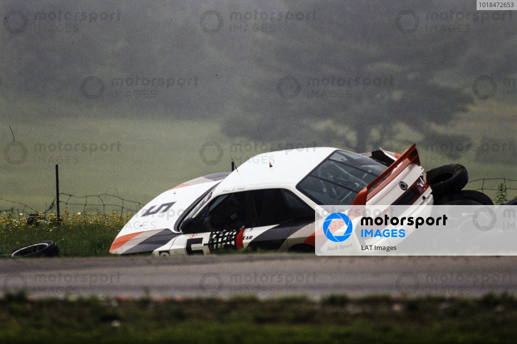 Hans-Joachim Stuck, Audi 90 quattro, crashes into a tyre barrier.