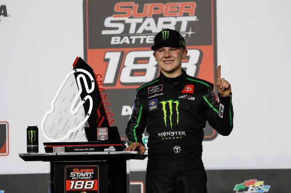 #54: Ty Gibbs, Joe Gibbs Racing, Toyota Supra Monster Energy, celebrates after winning the  Super Start Batteries 188 at Daytona