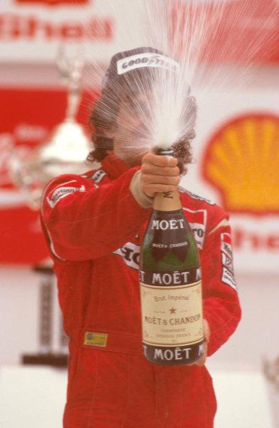 Jacarepagua, Rio de Janeiro, Brazil.1-3 April 1988.Alain Prost (McLaren Honda) 1st position on the podium.Ref-88 BRA 10.World Copyright - LAT Photographic