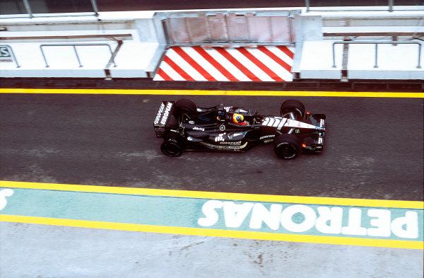 2001 Malaysian Grand Prix.Sepang, Kuala Lumpur, Malaysia. 16-18 March 2001.Tarso Marques (Minardi PS01 European) exits the pitlane.World Copyright - Martyn Elford/LAT Photographic ref:35mm Image A33