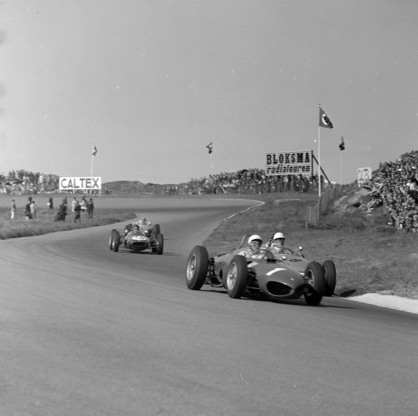 Phil Hill, Ferrari 156, leads Carel Godin de Beaufort, Porsche 718, and Jim Clark, Lotus 21 Climax.