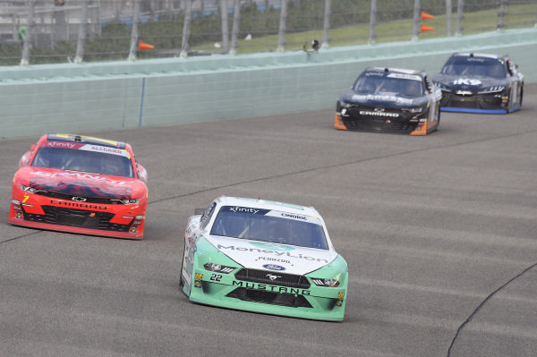 #22: Austin Cindric, Team Penske, Ford Mustang MoneyLion, #7: Justin Allgaier, JR Motorsports, Chevrolet Camaro BRANDT Professional Agriculture