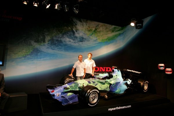 Rubens Barrichello (BRA) Honda and Jenson Button (GBR) Honda unveil the new livery