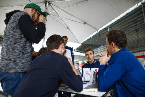 Sergey Sirotkin, Williams Racing, talks to the media.